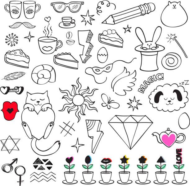 stockillustraties, clipart, cartoons en iconen met kleurrijke doodle pictogrammen set - bloemen storm