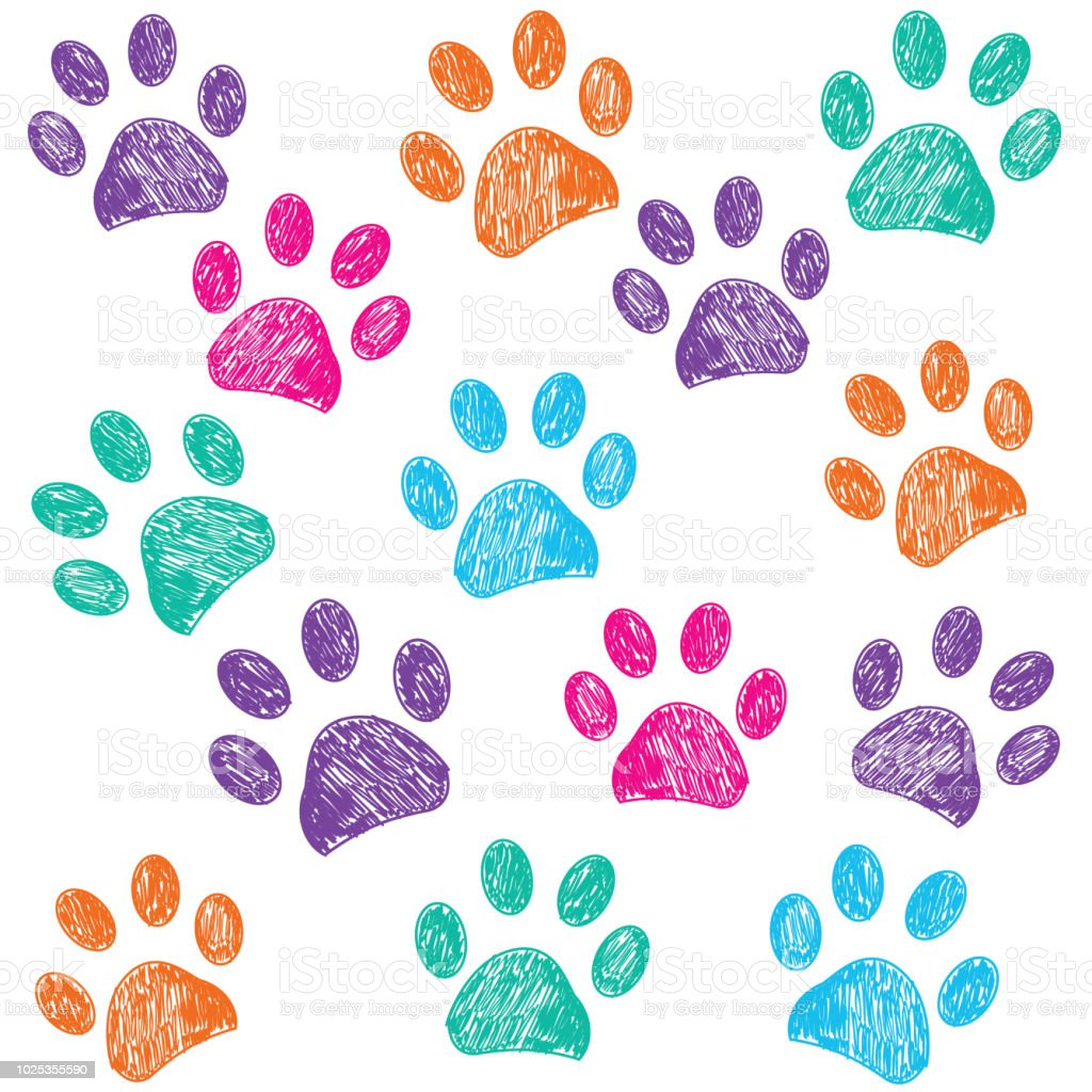 colorful doodle paw print background stock vector art more images