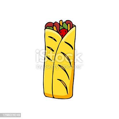 Colorful flat shawarma illustration in vector.