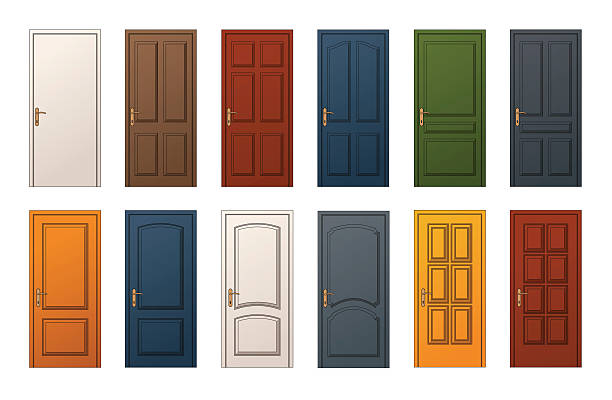 Colorful Doors Collection 12 Colorful Wooden Doors. Templates Collection for Web, Print and Architectural Drawings vehicle door stock illustrations