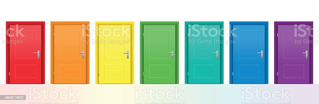 Farbenfrohe Türen – Vektorgrafik