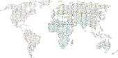 Colorful dotted world map,vector background