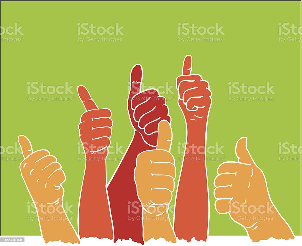 Colorful drawing of hands with thumbs up vector art illustration