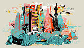 istock Colorful drawing of Tokyo skyline showing Japanese cultural icons. 998514046