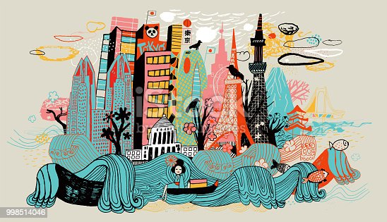 Hand drawn colourful city in Japan. Tokyo. Japanese culture