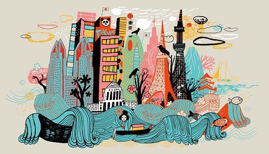 Colorful drawing of Tokyo skyline showing Japanese cultural icons.