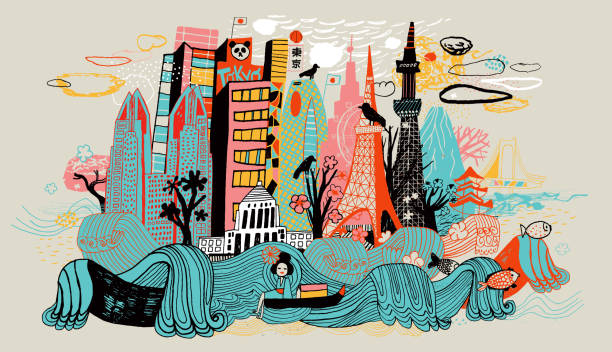 Colorful drawing of Tokyo skyline showing Japanese cultural icons. Hand drawn, colorful illustration showing Tokyo buildings, cherry trees, and koi carp which are iconic Japanese cultural icons. art product stock illustrations