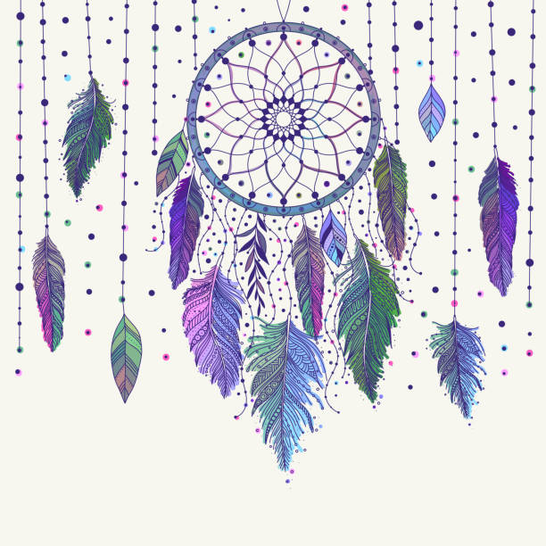 Colorful dreamcatcher and feathers Colorful hand drawn dreamcatcher with floral details and feathers, vector illustration, can be used for boho art design invitation, postcard. dreamcatcher stock illustrations