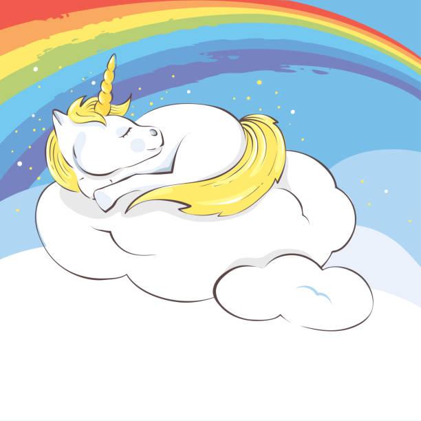 ilustrações de stock, clip art, desenhos animados e ícones de colorful dreams - unicorn bed