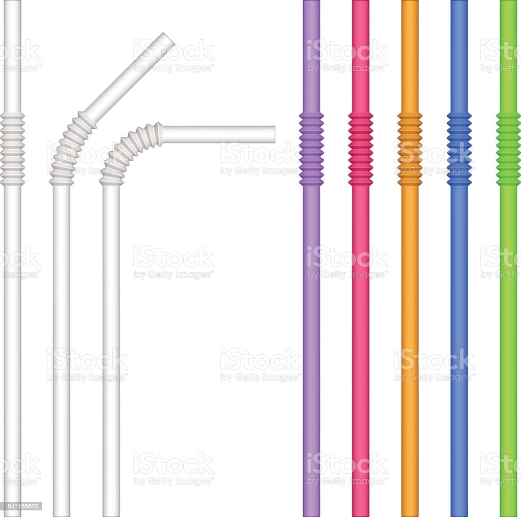colorful drinking straw vector vector art illustration