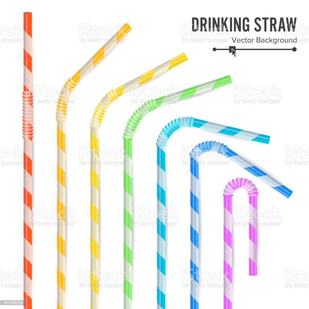 Colorful Drinking Straws Set. 3D Striped Icon Isolated In White Background. Vector illustration vector art illustration
