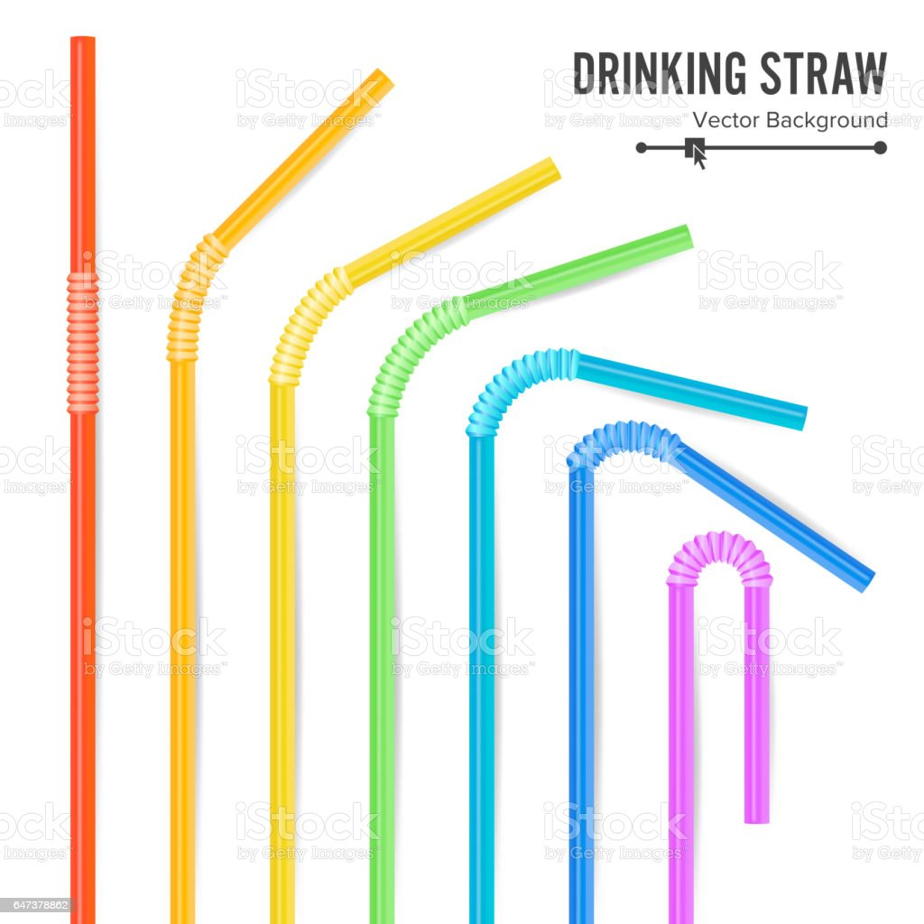Colorful Drinking Straws Vector. Different Types. Plastic Straight And Curved. For Celebration Background Design, Cocktail Party Menu vector art illustration