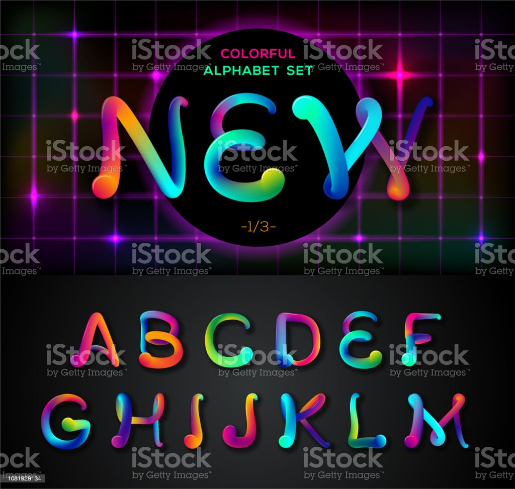 Colorful Dynamic Liquid Ink Alphabet Color Mixing Thick Oil