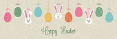 Colorful Easter banner with bunnies and eggs. Vector.