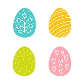 Colorful Easter eggs hand drawn icon set in doodle style