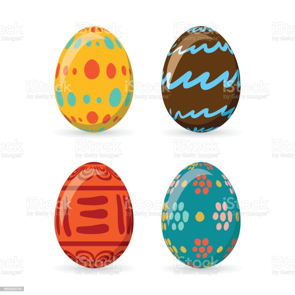 Vetores De Ovos De Pascoa Coloridos Conjunto Colecao Ilustracao