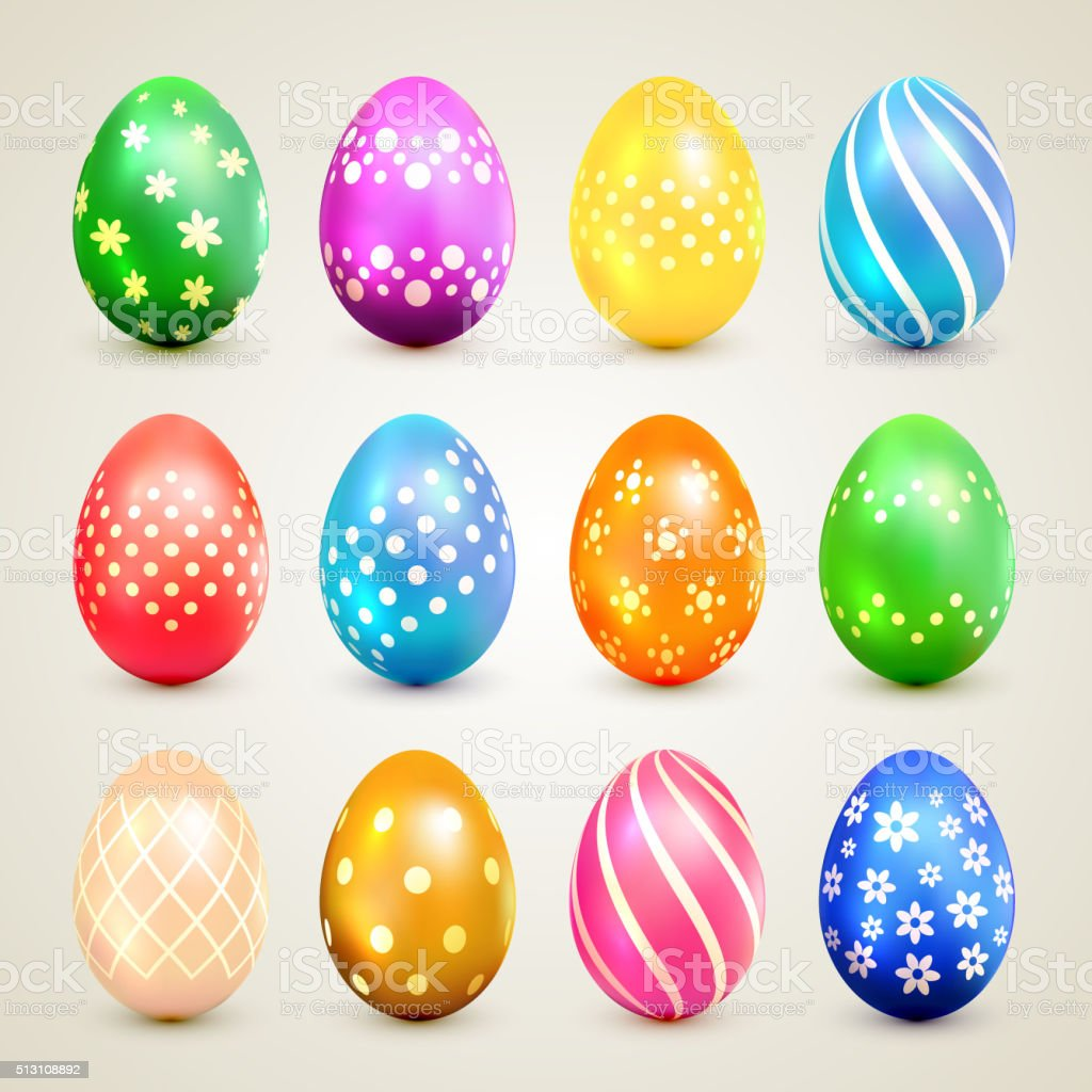 Colorful Easter eggs with decorative patterns vector art illustration