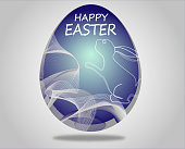 Colorful easter rabbit blue egg shape.Happy easter greeting card.Vector