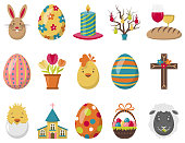 Colorful easter vector icons set isolated