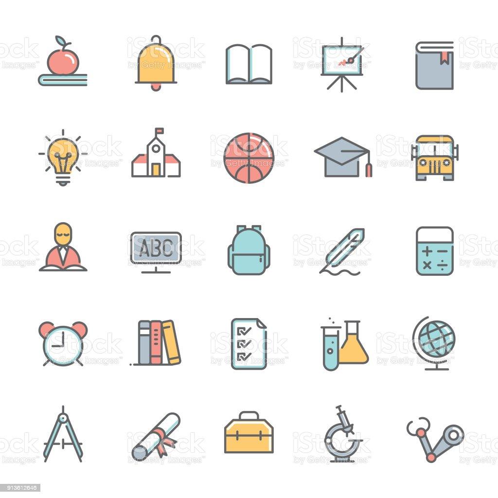 Ilustración de Conjunto De Iconos De Colores Educación Línea ...