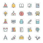 colorful education minimalist line icon set