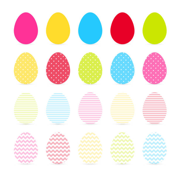 Colorful Eggs Isolated On White Background Vector Art Illustration