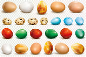 Colorful eggs on a transparent background