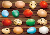 Colorful eggs on a wooden background