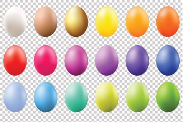 다채로운 계란 세트 - 부활절 달걀 stock illustrations