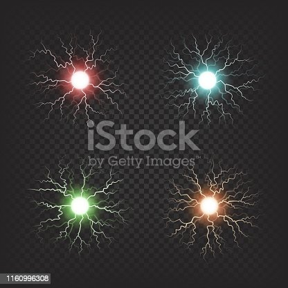 Colorful shiny fireballs of neon colors that spread small electric waves isolated vector illustrations on dark transparent background.