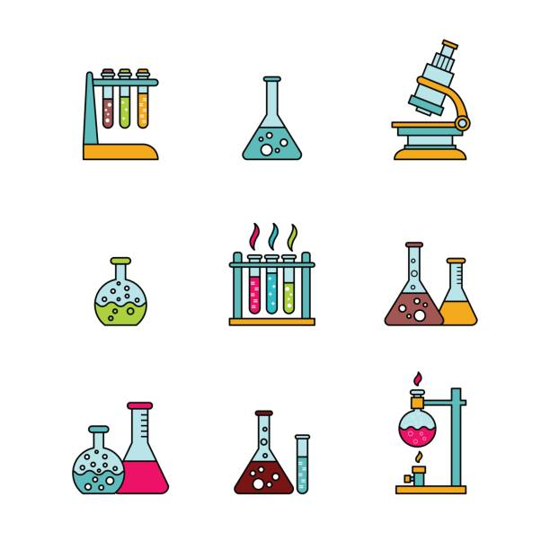 Colorful elements of chemical equipment vector art illustration