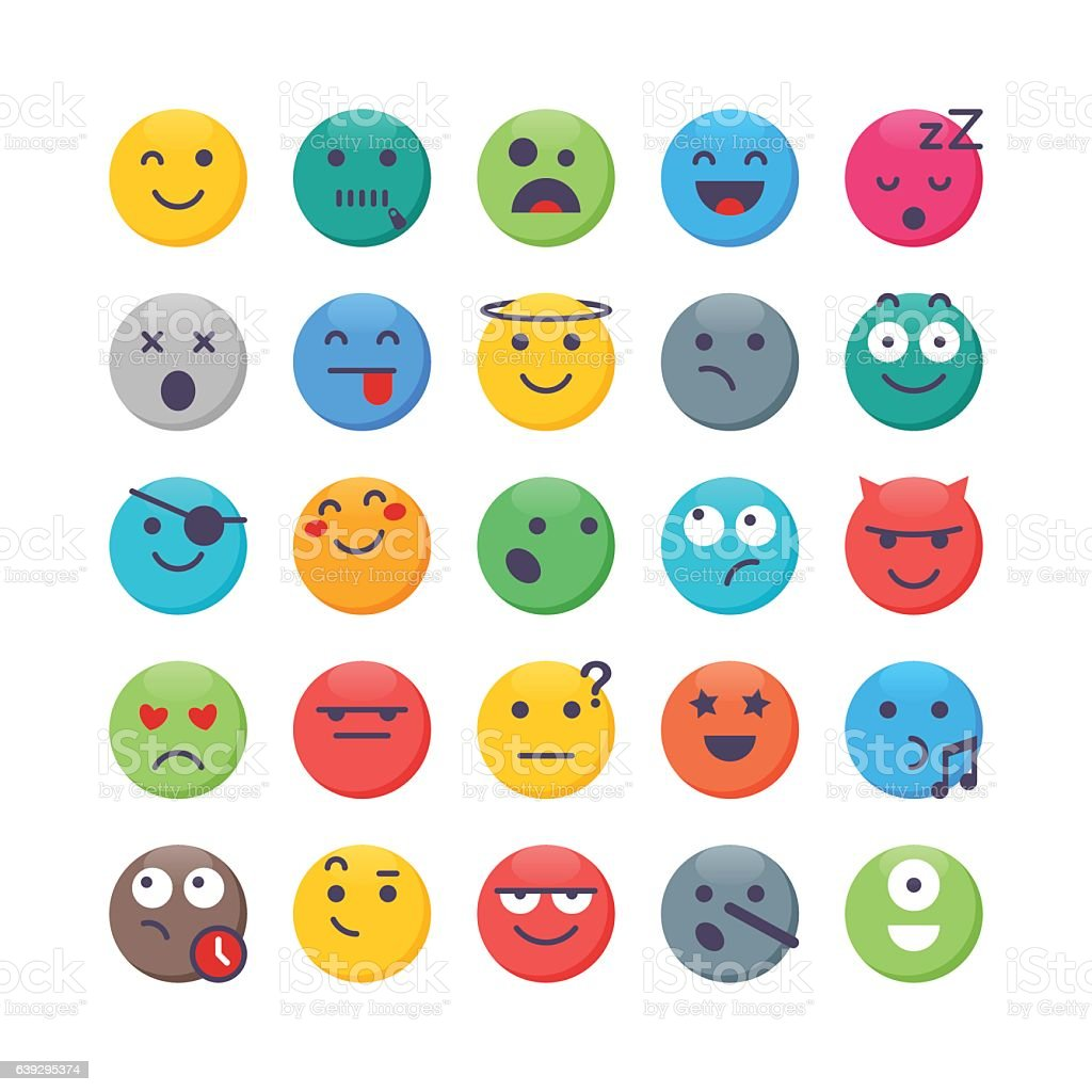 Colorful Emoji set 2 vector art illustration