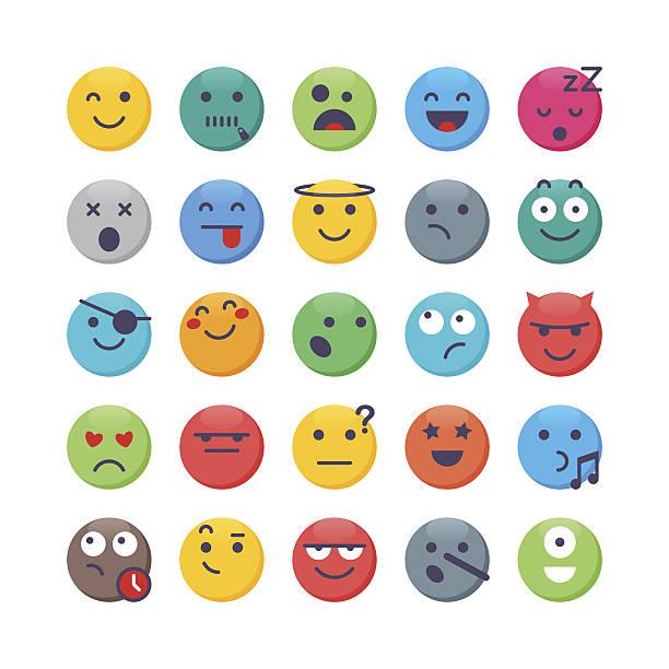 Colorful Emoji set 2 - ilustración de arte vectorial