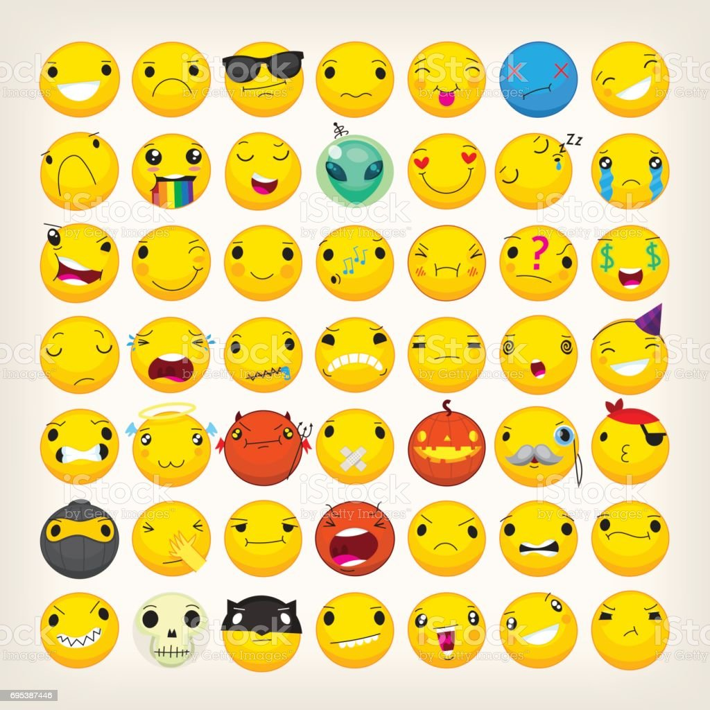 Colorful emoticons for any ocasion vector art illustration