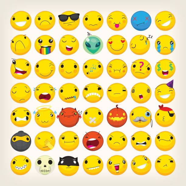 colorful emoticons for any ocasion - tears of joy emoji stock illustrations