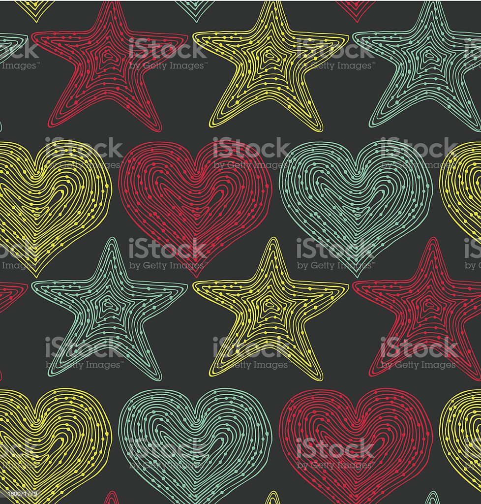 Colorful endless pattern with hearts and stars royalty-free stock vector art