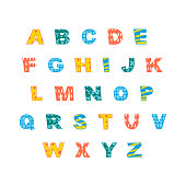 Colorful english alphabet with capital letters ant cute hand drawn texture. Vector illustration.