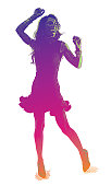 Colorful engraved silhouette of a Hispanic Woman Salsa Dancing
