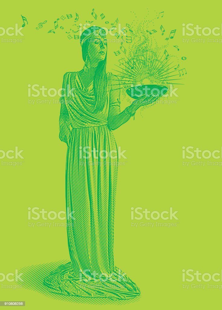 Colorful Engraving of a beautiful female musician composing music vector art illustration