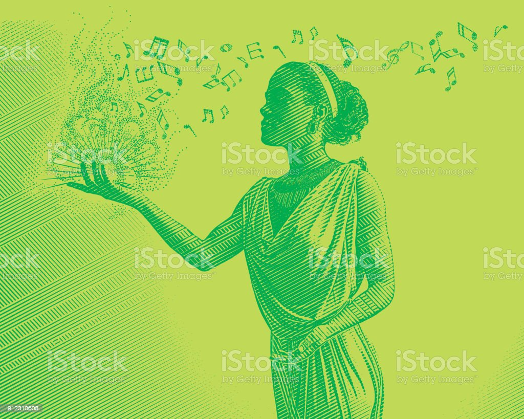 Colorful Engraving of a mixed race female musician composing music vector art illustration
