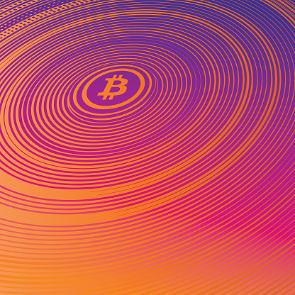 Colorful engraving of Bitcoin background with concentric stripes halftone pattern