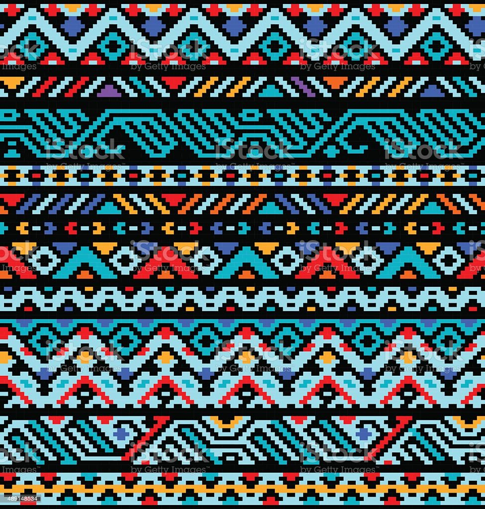 Colorful ethnic geometric aztec seamless pattern, vector vector art illustration
