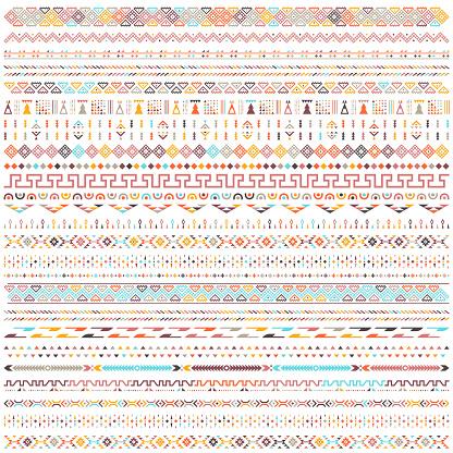 Colorful Ethnic Geometric Motifs Vector Pattern Design