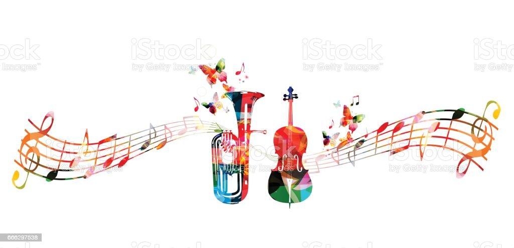 Colorful euphonium and violoncello vector art illustration