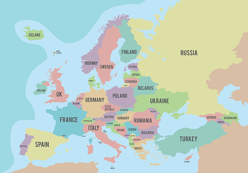 Political map of Europe with different colors for each country and names in English. Vector illustration.