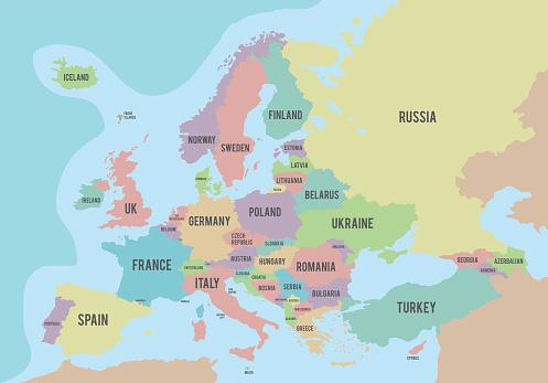 Colorful Europe Political Map With Names In English向量圖形及更多亞美尼亞 - 國家圖片