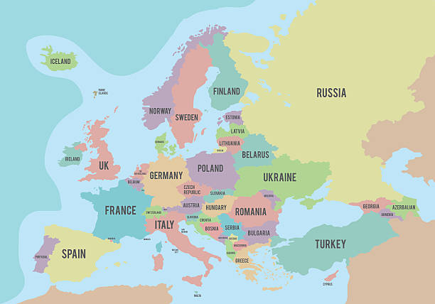 colorful europe political map with names in english - 동유럽 사람 stock illustrations