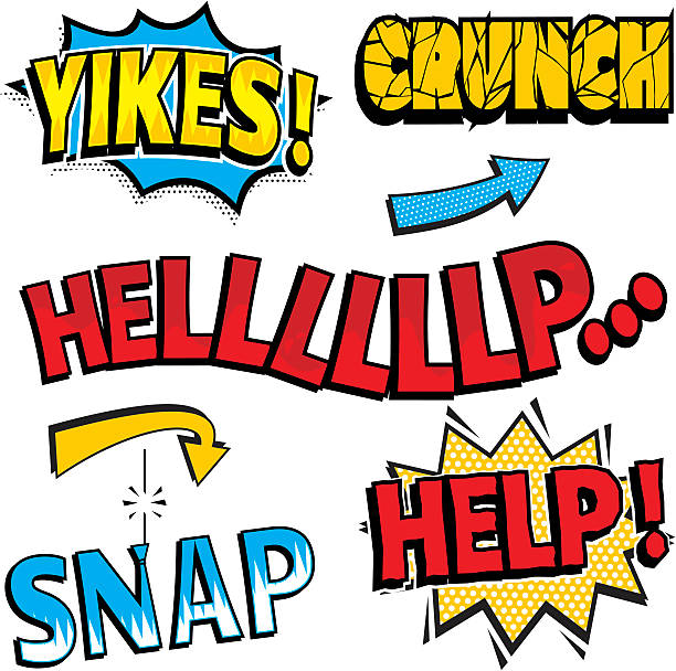 Colorful examples of sound and speech expressions in comics vector art illustration