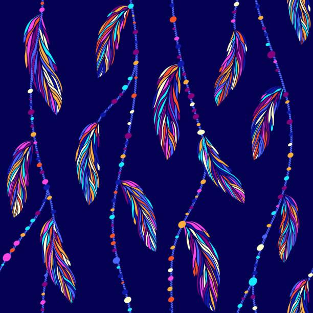 ilustrações de stock, clip art, desenhos animados e ícones de colorful exotic tropical bird feathers, boho threads and beads seamless vector pattern. - pena de pássaro algodão