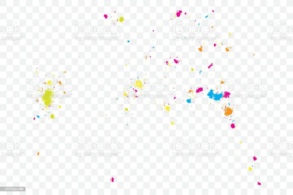 紙吹雪のカラフルな爆発色のキラキラと振りかける粒子の粗い抽象休日